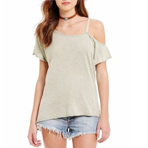 Free People Asymmetrical Cold Shoulder Shirt Top